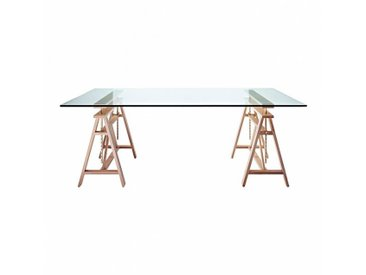 Magis Teatro - Table de salle à manger - table verre/LxPxH 200x90x75cm/support adjustable (95cm) hètre