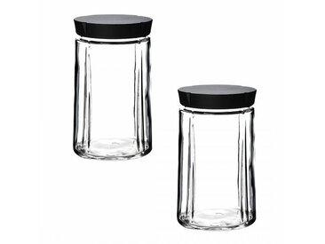 Rosendahl Design Grand Cru - Lot de bocaux en verre avec bouchon - transparent/couvercle noir/H 18cm / Ø 11cm/2 unités