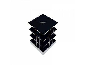 Moormann Musikstapler - Etagère pour CD H:56cm - noir/FU contreplaqué de bouleau/piédestal: cément/pour env. 180 CDs/rotatif