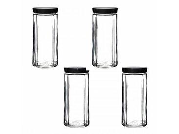 Rosendahl Design Grand Cru - Lot de bocaux en verre avec bouchon - transparent/couvercle noir/H 24cm / Ø 11cm/4 unités