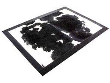 Q1 - Tapis peau de vache bord cuir une pièce - noir/blanc/180x125/peau de vache
