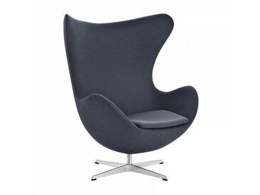 Fritz Hansen Fauteuil L'Oeuf/ Egg Chair™ étoffe - anthracite/étoffe Fame 60019/structure aluminium satiné/PxHxP 86x107x79-95cm
