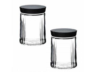 Rosendahl Design Grand Cru - Lot de bocaux en verre avec bouchon - transparent/couvercle noir/H 14,5cm / Ø 11cm/2 unités