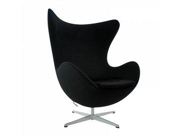 Fritz Hansen Fauteuil L'Oeuf/ Egg Chair™ étoffe - noir/étoffe Tonus 128/structure aluminium satiné/PxHxP 86x107x79-95cm