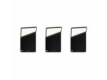 Nimbus Set de 3 appliques murales LED Winglet CL - noir mat/avec berceau de chargement et fixat/PxH 11.4x17.8cm/2700K/170lm CRI 90