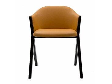 Cassina Chaise avec accoudoirs 397 M10 cuir - jaune/cuir Pelle Naturale 13Z200/mousse de PU sans CFC/PxPxH 57x54x75cm/structure frêne teinté noir/base plastique