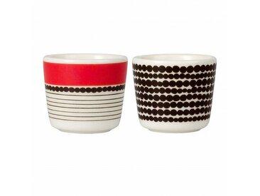 Marimekko Oiva - Ensemble de 2 coquetiers - noir, blanc et rouge