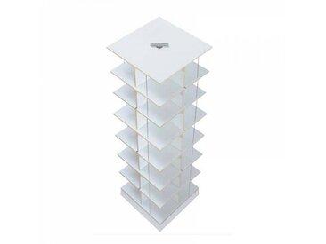 Moormann Musikstapler - Etagère pour CD H:118cm - blanc/FU contreplaqué de bouleau/piédestal: cément/pour env. 420 CDs/rotatif