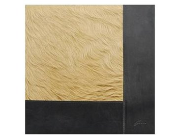 Q2 - Tapis peau de vache avec bordure cuir - beige/peau de vache/100x100cm