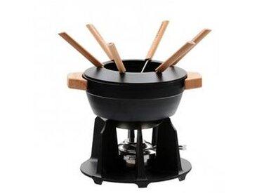Le Creuset - Fondue Set - noir/manche en bois/Fondue Pot/Rechaud, six fourchettes