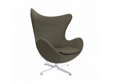 Fritz Hansen Fauteuil L'Oeuf/ Egg Chair™ étoffe - marron gris/étoffe Fame 61060/structure aluminium satiné/PxHxP 86x107x79-95cm