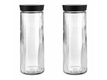 Rosendahl Design Grand Cru - Lot de bocaux en verre avec bouchon - transparent/couvercle noir/H 29,5cm / Ø 11cm/2 unités
