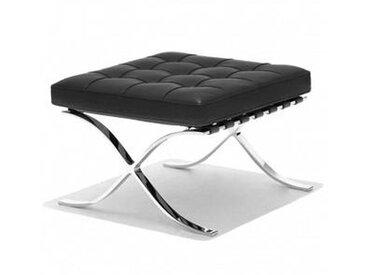 Barcelona Mies van der Rohe - Tabouret - noir/structure chromée/cuir qualité Velluto Pelle