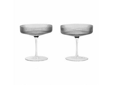 ferm LIVING Ripple - Lot de 2 verres à champagne - gris/verre soufflé/H 11cm/Ø 10.5cm