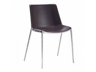 MDF Italia Aïku Soft - Chaise - brun foncé/cuir Pelle R816/LxPxH 58x55x78cm/structure chromé