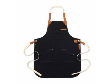 Röshults Tablier cuisine BBQ Canvas - noir marine/cognac/2 poches/LxP 85x64cm