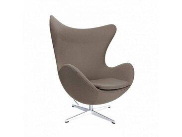 Fritz Hansen Fauteuil L'Oeuf/ Egg Chair™ étoffe - taupe/étoffe Fame 61135/structure aluminium satiné/PxHxP 86x107x79-95cm