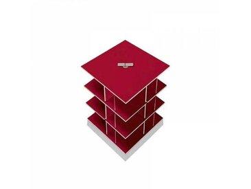 Moormann Musikstapler - Etagère pour CD H:56cm - rouge/FU contreplaqué de bouleau/piédestal: cément/pour env. 180 CDs/rotatif
