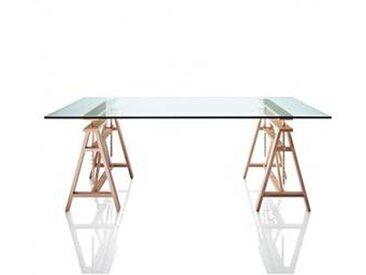 magis Teatro - Table de salle à manger - table verre/LxPxH 200x90x75cm/support adjustable (95cm) hètre