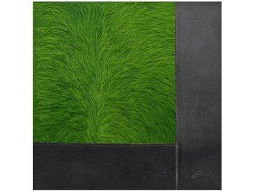 Kurth Q2 - Tapis peau de vache avec bordure cuir - vert/peau de vache/200x200cm