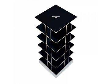 Moormann Musikstapler - Etagère pour CD H:87cm - noir/FU contreplaqué de bouleau/piédestal: cément/pour env. 300 CDs/rotatif