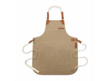 Röshults Tablier cuisine BBQ Canvas - sable/cognac/2 poches/LxP 85x64cm