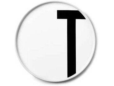 Design Letters - Assiette en porcelaine T - blanc/Ø: 20cm