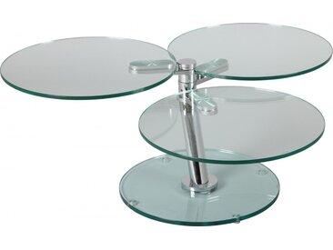 Table basse ronde verre trempé 3 plateaux articulée