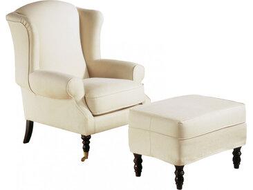 Fauteuil bergère hêtre massif teinté merisier doré tissu blanc pieds à roulettes