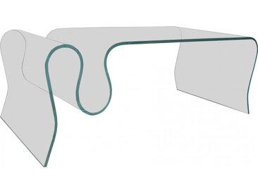 Table basse design en verre trempé courbé porte-revues