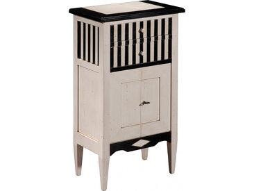 Meuble d'appoint merisier 2 tiroirs 2 portes laqué blanc et noir