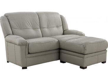 Grand canapé-chaise cuir crème JENSEN