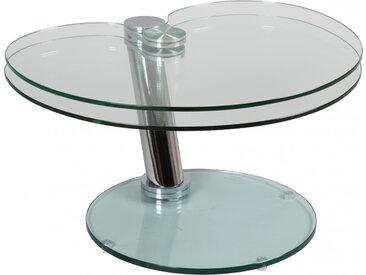 Table basse design en verre  trempé et acier plateau pivotant