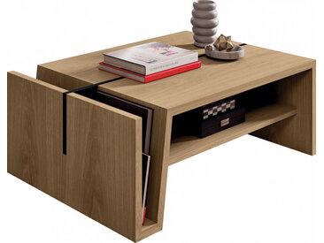 Table basse rectangulaire chêne naturel double plateau avec porte revue pieds métal noir