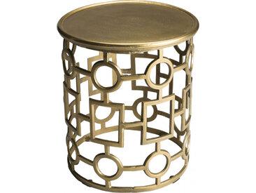 Table d'appoint ronde aluminium doré piétement graphique – JOHN
