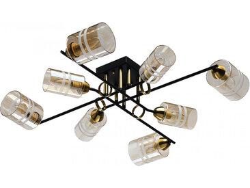 Plafonnier en métal champagne et verre 8 ampoules – Megapolis