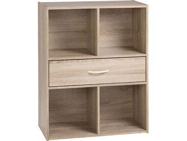 Etagère de rangement ton chêne 1 tiroir 4 niches