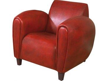 Fauteuil club British Style Modus cuir basane rouge