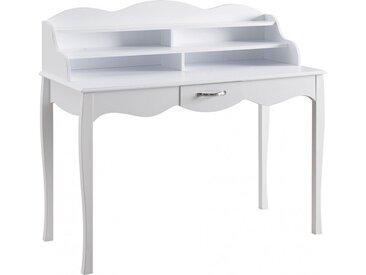 Secrétaire blanc pieds galbés 1 tiroir 2 étagères