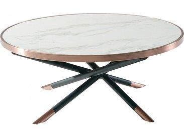 Table basse ronde plateau plaqué céramique piétement métal noir