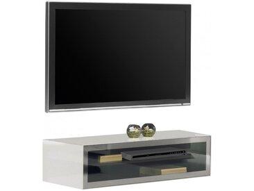 Banc TV design laqué blanc verre