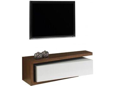 Banc TV design laque et noyer 1 tiroir