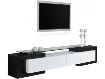 Banc TV design laque blanc et noir brillants