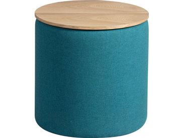 Pouf coffre ronde tissu turquoise avec couvercle frêne