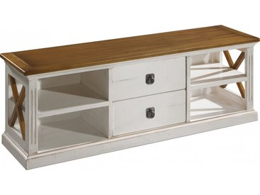 Banc TV chêne blanc 2 tiroirs 4 niches décors croisillons