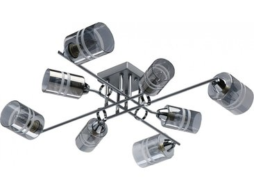 Plafonnier en métal gris fumé et verre 8 ampoules – Megapolis