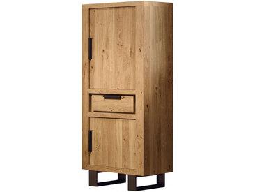 Colonne de rangement ferrée à droite chêne naturel 2 portes 1 tiroir