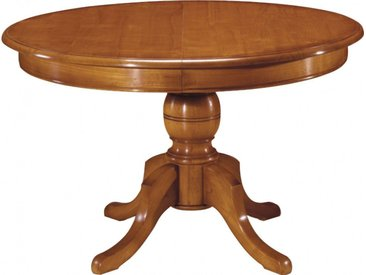 Table ronde merisier pied central 2 allonges