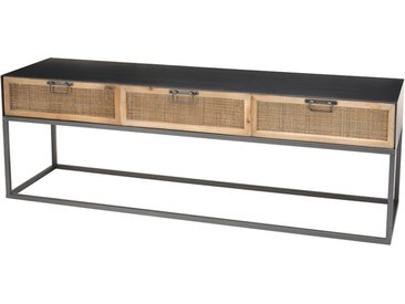 Banc TV noir 3 tiroirs cannage rotin pieds métal