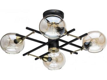 Plafonnier en métal  doré teck et verre 4 ampoules - Megapolis